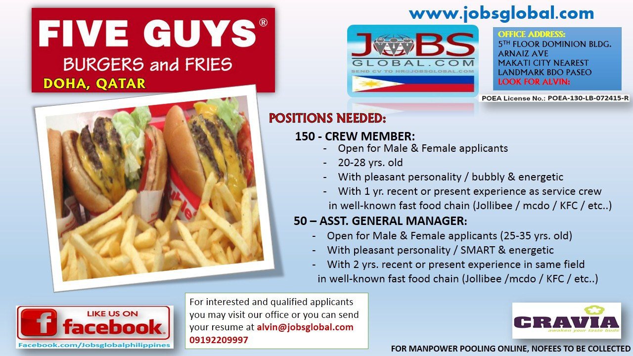 assistant manager position needed 150 crew member