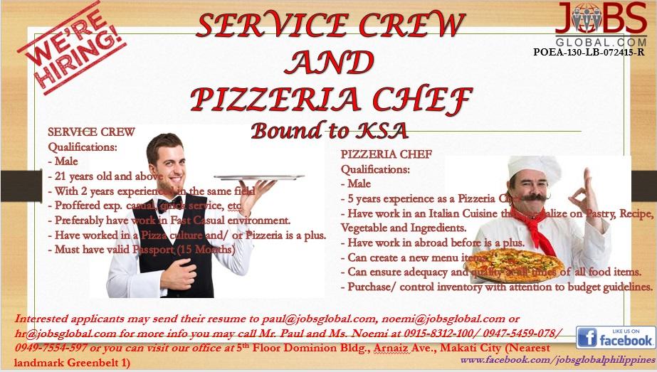 job description of service crew for resume